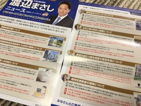 渡辺まさしニュース(秋号)を発刊!!